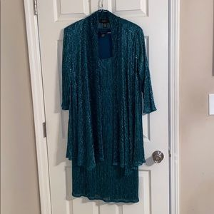 🌺 R & M Richards 2 pc Emerald Green Dress Size 16